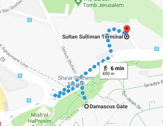 How to get from Damascus Gate to Sultan Sulliman Terminal