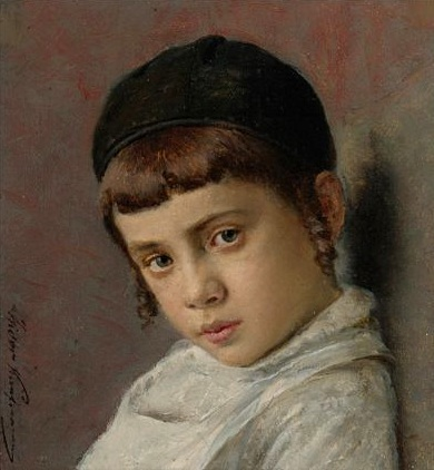 Portrait of a young boy with peyot by Isidor Kaufmann