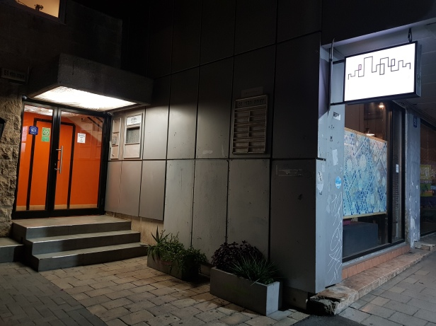 The hostel entrance at night...