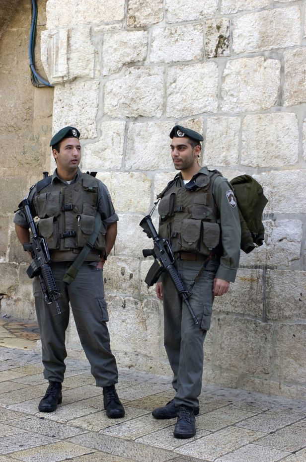 Two Magav policemen in the Old City of Jerusalem