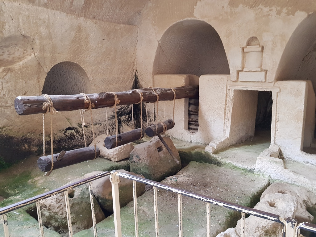 Restored underground oil press from Beit Guvrin National Park