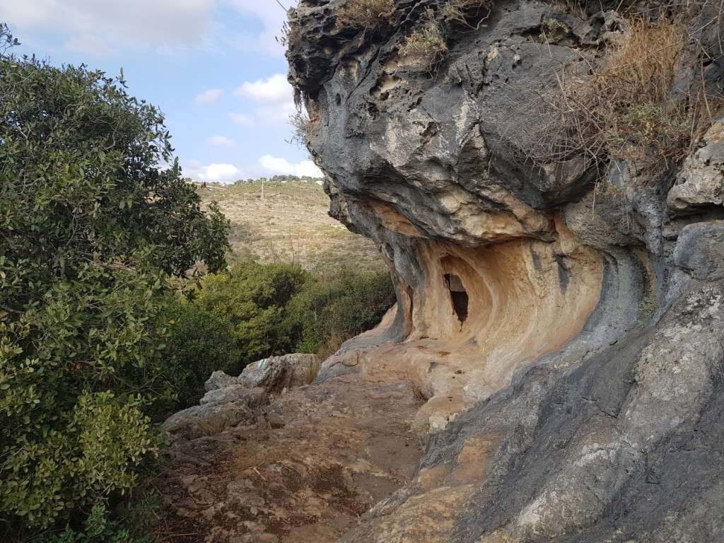 Some of the beautiful rock formations along the cliff on the Israel National Trail