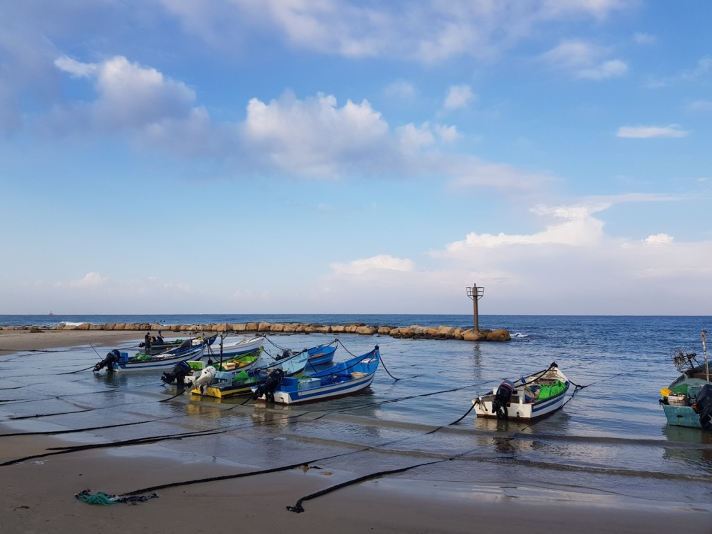 Fishermen boats of Jizr al-Zarqa on the Israel National Trail